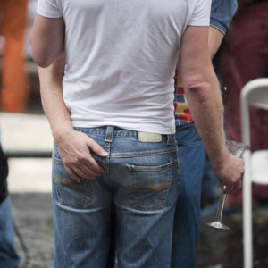 Rear view of a gay couple